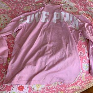 PINK VS Cold shoulder cutout long sleeve tee L